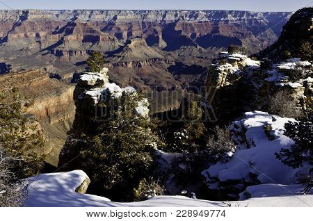 Icy Pillars Of The Grand Canyon