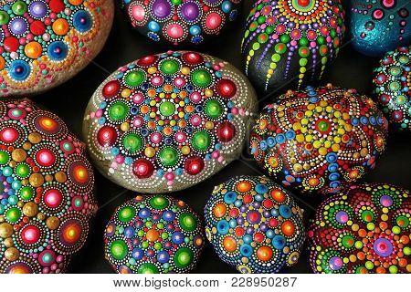 Beautiful Rock Mandalas Painted With A Brush Closeup