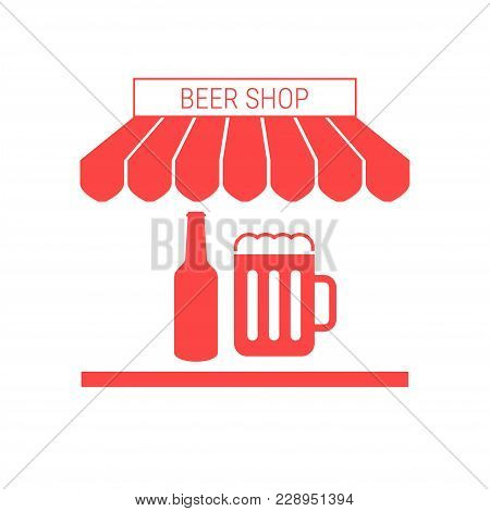 Beer Shop, Pub Single Flat Vector Icon. Striped Awning And Signboard. A Series Of Shop Icons.