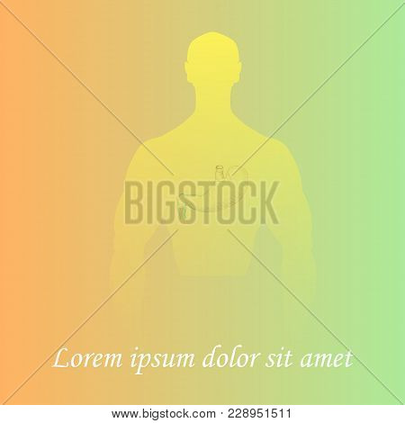 Silhouette Of A Man Torso With Hand Drawn Stomach. Gradient Background. Space For Text. Human Anatom