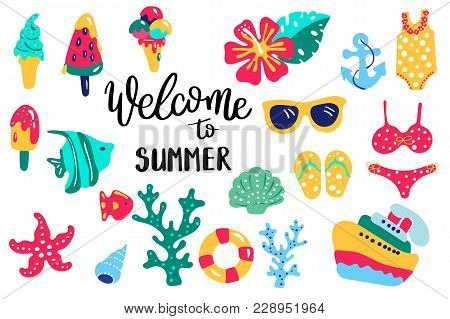 Summer Lettering. Set Hand Drawn Icons, Signs And Banners. Bright Summertime Poster. Collection Summ