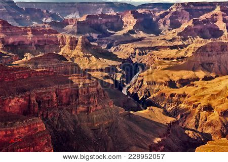 A View Of The Colorado River In The Grand Canyon From The Pima Point Vista Located On The South Rim.
