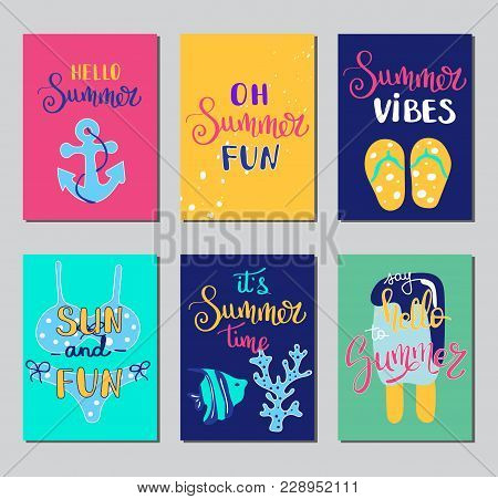Summer Lettering Card. Hand Drawn Gift Tags, Banners And Labels With Fun Elements. Bright Summertime