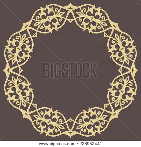 Oriental Round Golden Pattern With Arabesques And Floral Elements. Traditional Classic Ornament. Vin