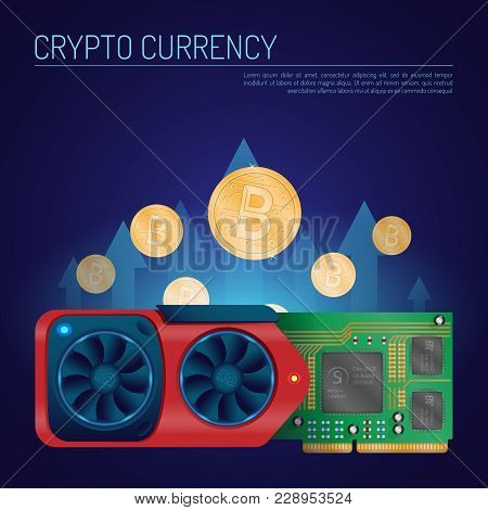 Cryptocurrency Video Card And Coins Concept. A Detailed Video Graphics Card With Bitcoins On A Dark