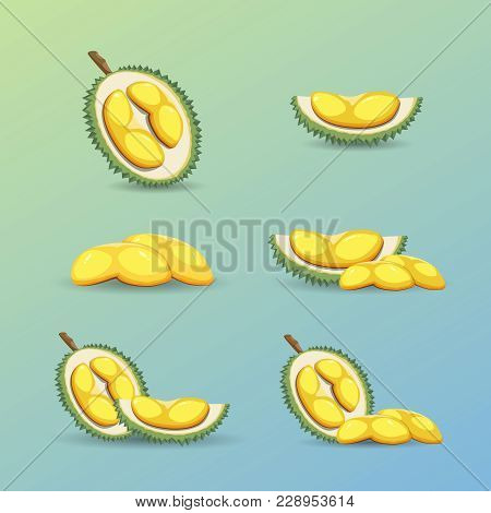 Halves Of An Exotic Durian Fruit On A Blue Background. Mature Durian Fruit Or A Smelly Fruit Called