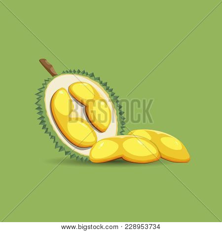 A Half Of A Durian Fruit On A Green Background. Mature Durian Fruit Or A Smelly Fruit And Called Kin