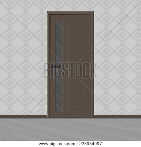 Ramp Brown Wooden New Door With Door's Glass Frame In A Room. Home Interior. Vector Illustration.