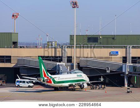 Kloten, Switzerland - 28 March, 2017: A Cityliner Embraer Erj-175 Airplane Of Alitalia At A Terminal