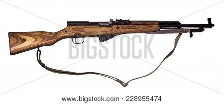 Semi-automatic Carbine With Bayonet In Its Closed Position And With Canvas Belt, Isolated