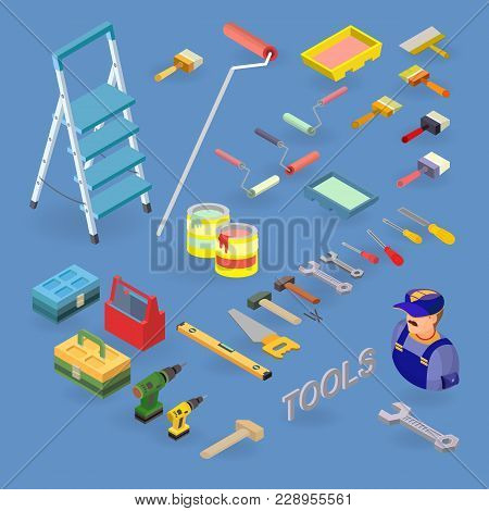Home Repair Service. Vector Set Of Tools, Equipment Symbols And Items Isometric Icons. Building And