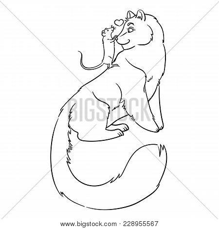 Illustration Friendship Of Rat And Pardus. Fantasy Animals. Vector Illustration