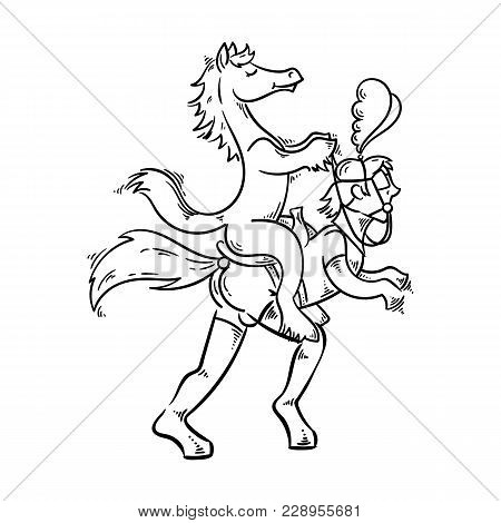 Playful Illustration In Bdsm Style. Man In Latex Pony Costume With Horse In A Saddle. Vector Image