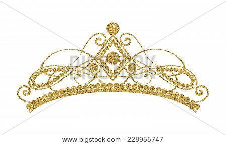 Glittering Diadem. Golden Tiara Isolated On White Background. Vector Illustration