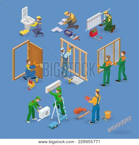Home Repair Isometric Icons Set With Workers, Tools And Equipment Symbols Isolated On Blue. Building
