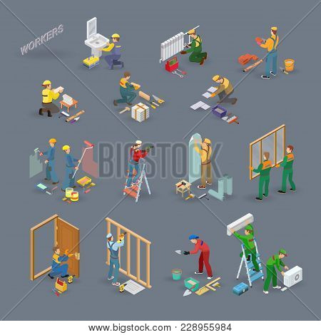 Home Repair Isometric Icons Set With Workers, Tools And Equipment Symbols Isolated On Grey. Building