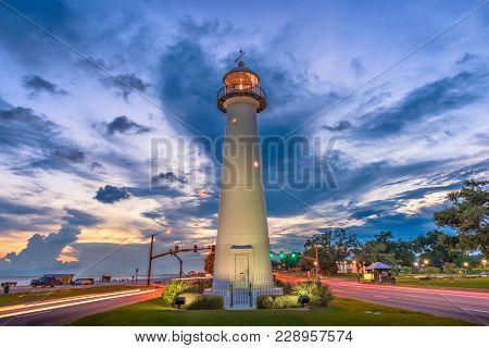 Biloxi, Mississippi, USA Lighthouse at dusk.