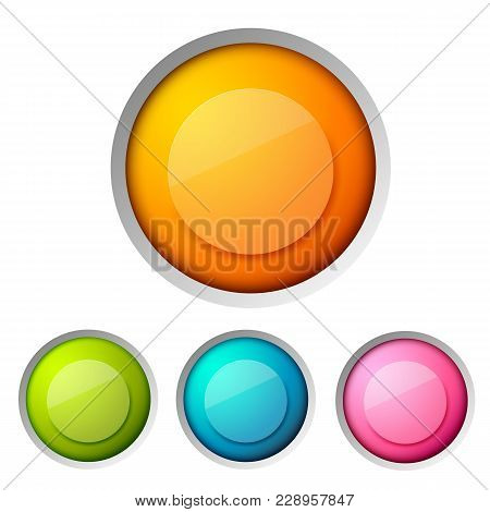 Modern Design Button Concept Set With One Big Orange Button And Three Different Colored Small Ones O