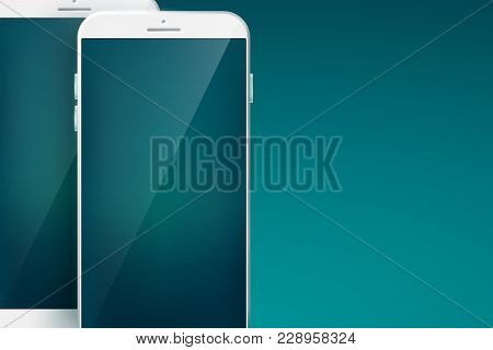 Modern Design Concept Smartphone Set With Two White Cellphones With Shadows On The Large Blanks And
