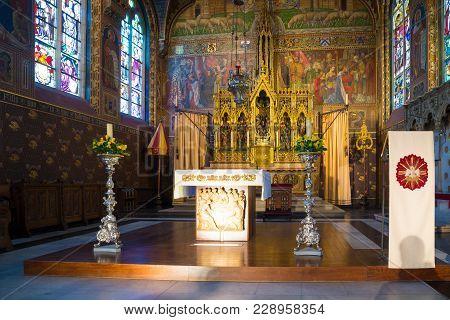 Bruges, Belgium - April 18, 2017: Interior Of The Basilica Of The Holy Blood - Basiliek Van Het Heil