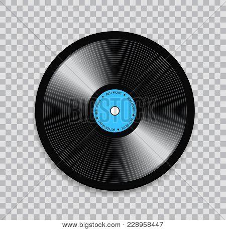 Black Vinyl Record On Transparent Background. Realistic Illustration.