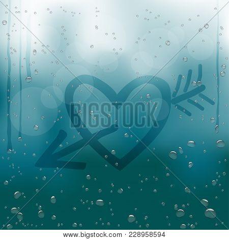 Heart With Cupid Arrow Draw On Rainy Window. Water Drops Flow Down On Dark Blue Bokeh Background. Ro