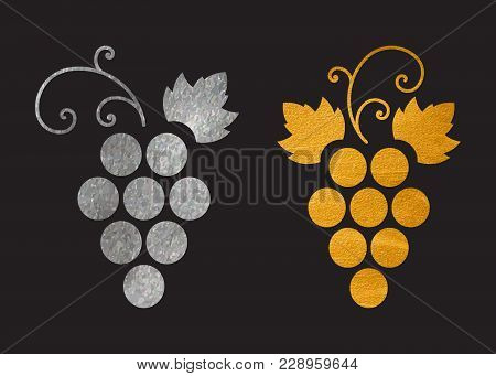 Set Of Silver And Gold Textured Grapes Logo. Luxury Wine Or Vine Logotype Icon. Brand Design Element