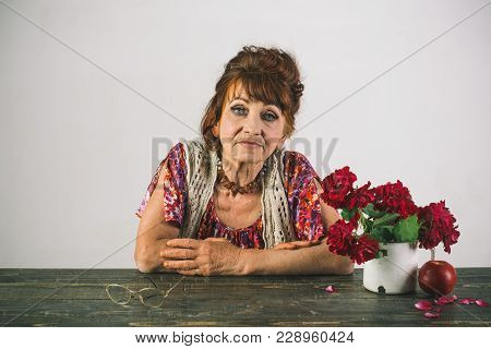 Womens Day, 8 March, Spring. Woman With Wrinkled Face, Makeup, Beauty, Skin Aging. Old Lady Pose Wit