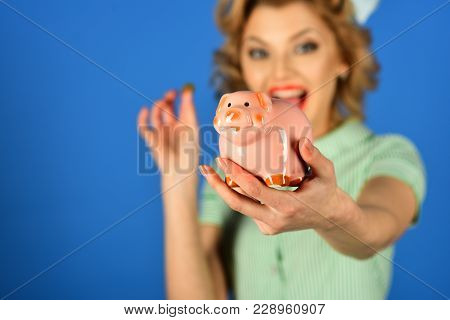 Retro Woman Hold Moneybox, Piggy Bank For Savings. Sensual Girl Save Money For Future. Bankruptcy An
