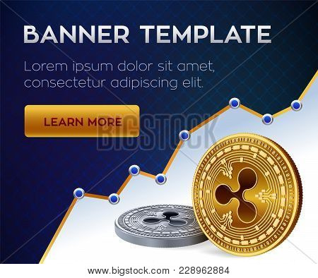 Cryptocurrency Editable Banner Template. Bitcoin. Ripple. 3d Isometric Physical Bit Coins. Golden Bi