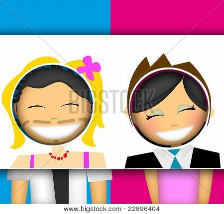 Fun couple illustration, have fun and change gender in a painting avatar