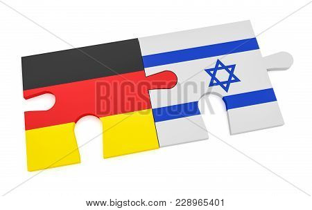 Germany Israel Partnership Concept: German Flag And Israeli Flag Puzzle Pieces, 3d Illustration Isol