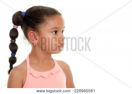 Portrait of a cute multiracial small girl looking to one side - Isolated on white