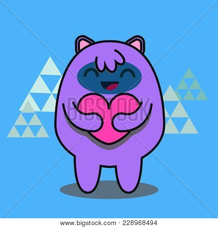 Hand Drawn Vector Flat Linear Illustration Of A Cute Funny Cartoon Alien Monster Or Yeti, Holding A