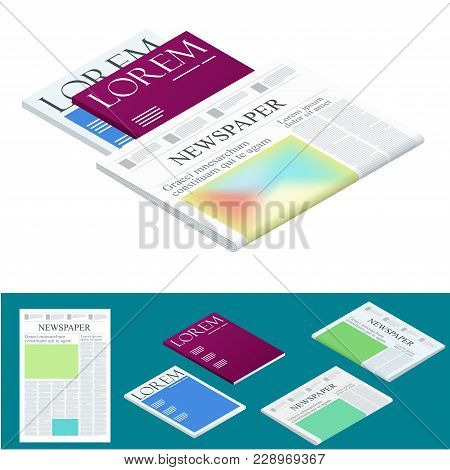 Isometric Blank Newspaper And Magazines. Business And Finance. Newspaper Journal Design Template. Ve