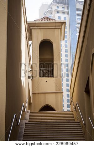 A Set Of Back-alley Stairs Lead Into Luxury Residences At The Dubai Marina.