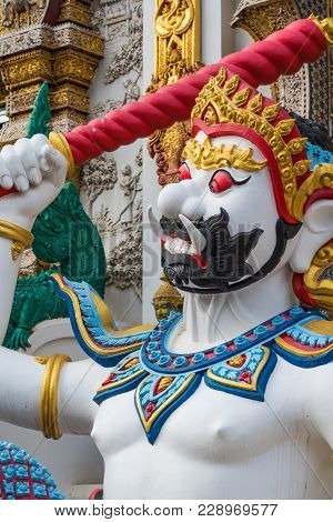 Thai Literature Giant Sculpture Decorated In Grand Blue Temple (wat Ban Den) Beautiful Temple, Trave