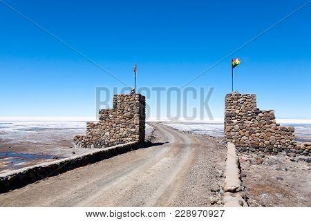 Salar De Uyuni Entrance Gate,bolivia. Largest Salt Flat In The World. Bolivian Landscape