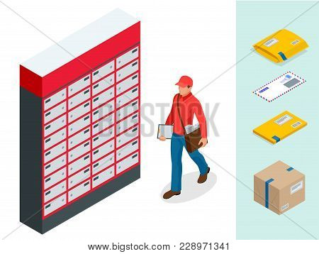 Isometric Set Of Post Office, Postman, Envelope, Mailbox And Other Attributes Of Postal Service, Poi