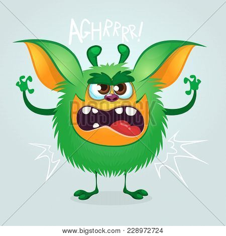 Angry Cartoon Green Monster Gremlin. Big Collection Of Cute Monsters For Halloween. Vector Illustrat