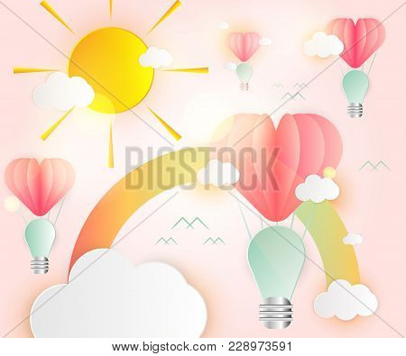 Love Card Abstract Idea Light Bulbs Heart Pink Paper Overlap Style Balloon Red Floating On The Air :