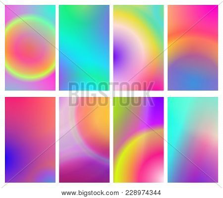 Fluid Iridescent Multicolored Backgrounds. Vector Illustration Of Fluids. Background Set With Hologr