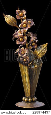 Forged Bouquet Of Flowers In A Metallic Vase, Golden In Color, Isolated On A Homogeneous Background.