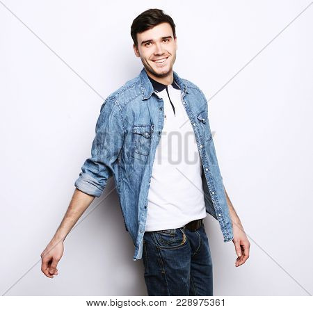 handsome fashion man over white background