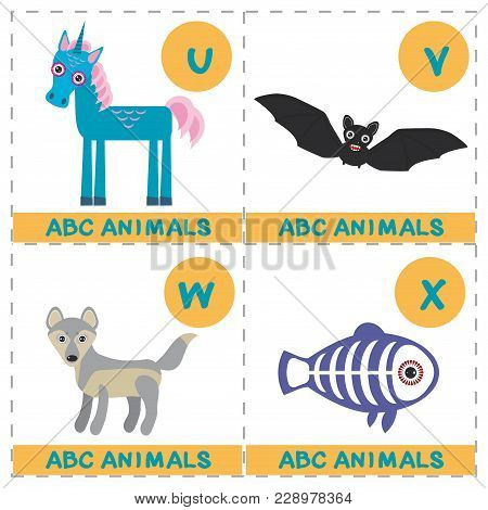 Abc Alphabet For Kids. Set Of Funny X-ray Fish Wolf Bat Unicorn Cartoon Animals Character. Cards For