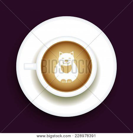 Kitty Coffee Latte Art Animal, Top View Shape Foam Art Of A Cappuccino Cup With Saucer On Black Tabl