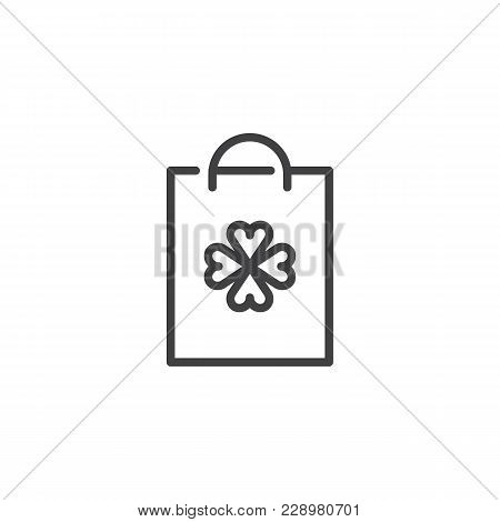 Shopping Bag With Clover Outline Icon