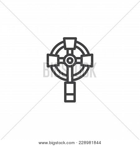 Catholic Wall Cross Outline Icon. Linear Style Sign For Mobile Concept And Web Design. Celtic Euchar