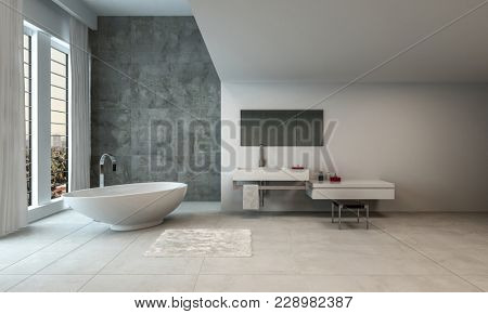 The interior of a minimalistic, luxury open bathroom with wide windows and expansive views. 3d Rendering