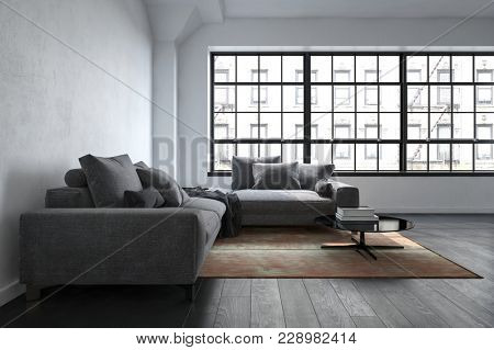 The interior of a luxury, contemporary lounge room next to wide windows with apartment views. 3d Rendering